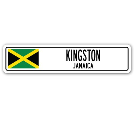 KINGSTON, JAMAICA Aluminum Street Sign Jamaican flag city country road wall gift - Halloween City Kingston Ny