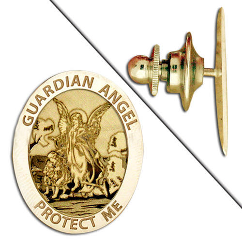 "Guardian Angel ""Protect Me"" Pin  - 2/3 Inch X 3/4 Inch - Sterling Silver"