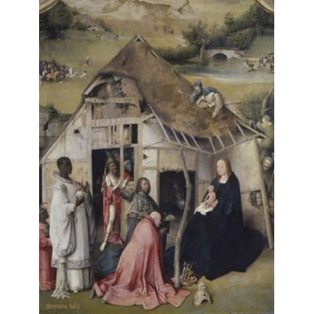 Adoration of the Magi  Hieronymus Bosch (c 1450-1516 Netherlandish)  Oil on Wood Panel  Bearsted Collection Upton House near Banbury Stretched Canvas - Hieronymus Bosch (18 x