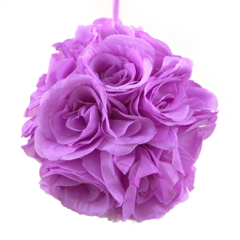 Koyal Rose Ball Wedding Flower Decoration, 6-Inch, Lavender