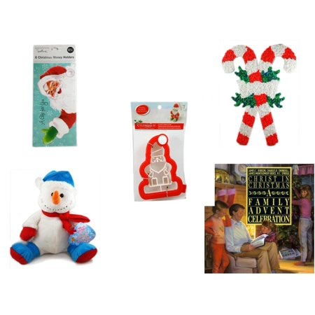 Christmas Fun Gift Bundle [5 Piece] - Hallmark Expressions 6  Money Holders - Vintage 1960's Kage Co. Melted Popcorn Candy Cane - Celebrate It 3D Santa Cookie Cutter - Snowman  12