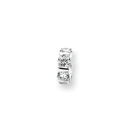 Diamond Ship Wheel Charm (Clear CZ, Wheel Pattern Charm in Silver for 3mm Bead Bracelets)