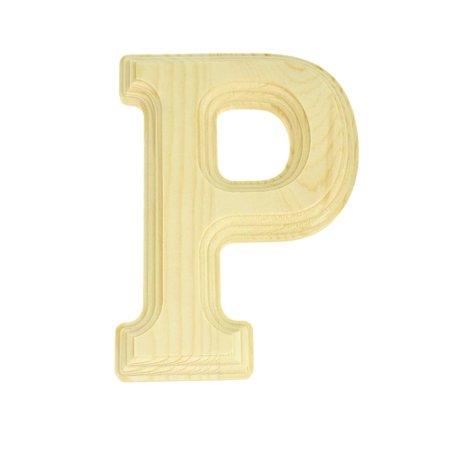 Pine Wood Beveled Wooden Letter P, Natural, (Rose Natural Wood Letter Holder)