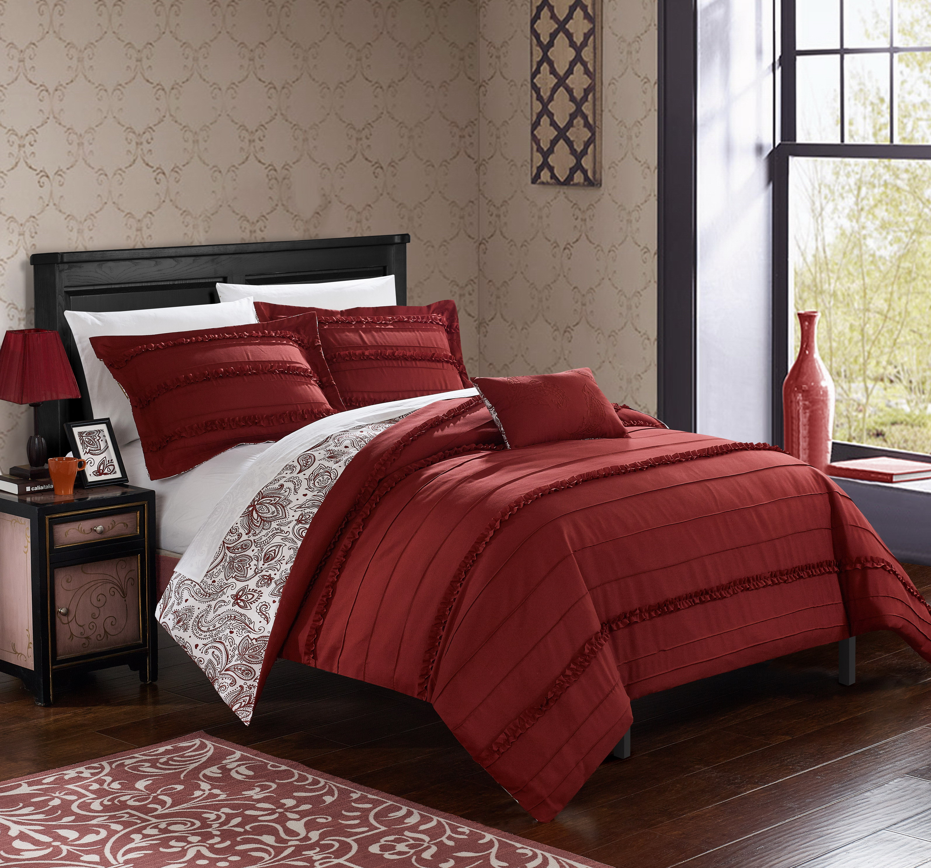 Chic Home 4 Piece Atticus Pleated and Ruffled REVERSIBLE Paisely Floral Print King Duvet Cover Set Brick Shams and Decorative Pillows included