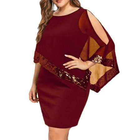 Womens Bodycon Plus Size Mesh Sequin Evening Party Cocktail Club Mini Dress (Plus Size Club Dresses 2x)
