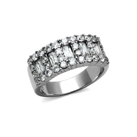 - 8 mm Wide Anniversary Band Baguette and Brilliant Designer Ring Stainless Steel