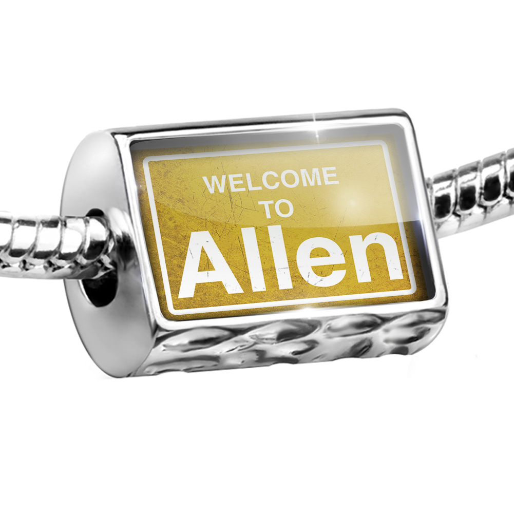 Bead Yellow Road Sign Welcome To Allen Charm Fits All European Bracelets