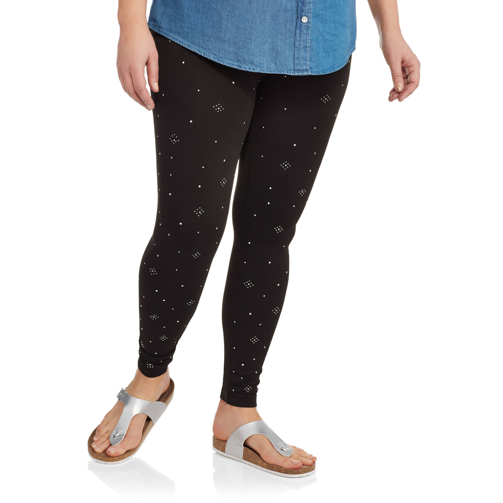 Eye Candy Women's Plus Front Embelllished Leggings