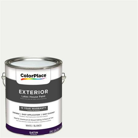 Colorplace exterior paint satin finish white 1 gallon for Exterior paint satin 5 gal