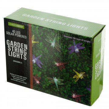 Dragonfly Solar Powered LED String Lights, Transparent/Black/Yellow/Green/Blue/red