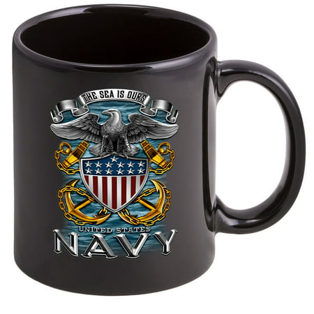 Coffee Cup with US Navy Full Print Eagle Logo - Stoneware Mug, Patriotic Gifts ()