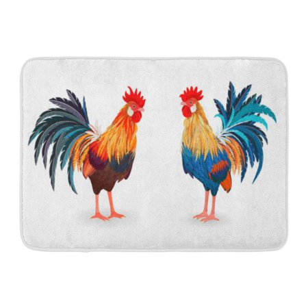 GODPOK Red Asian Blue Abstract Collection of Detailed Lovely Roosters for Your Design Colorful Animal Bird Rug Doormat Bath Mat 23.6x15.7 -