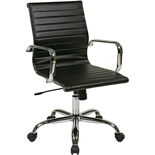 Office Star Work Smart Thick Padded Faux-Leather Seat and Back with Built-In Lumbar Support