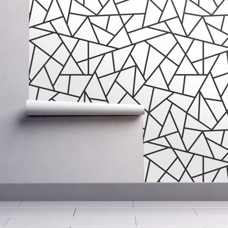 Peel-and-Stick Removable Wallpaper Abstract Abstract Black Abstract Geometric - Black Cat Halloween Wallpaper