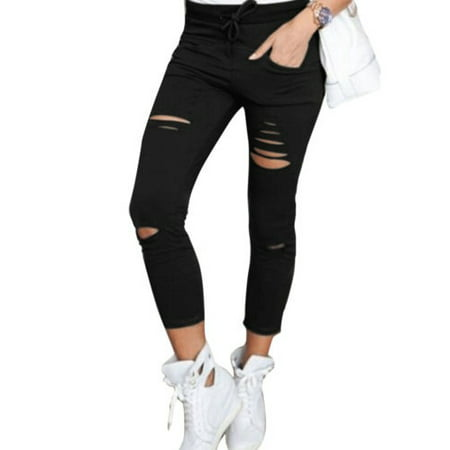 Women's High Waisted Ripped Skinny Jeans ()