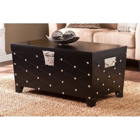 Pemberly row nailhead trunk coffee table in black and silver Furniture row coffee table