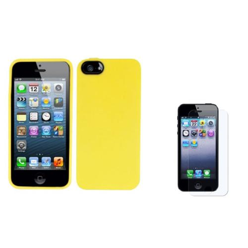Insten Gel Cover Case + Screen Protector For Apple iPhone SE 5/5S - Yellow