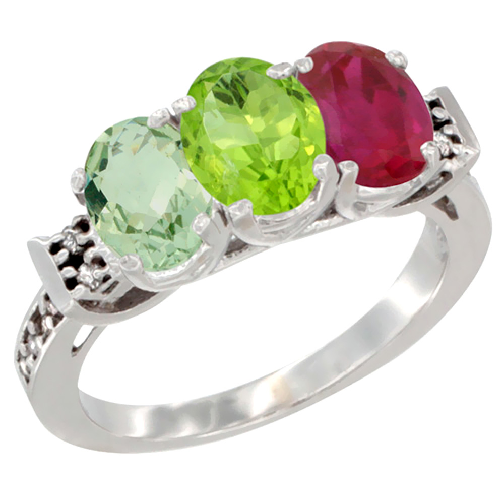10K White Gold Natural Green Amethyst, Peridot & Enhanced Ruby Ring 3-Stone Oval 7x5 mm Diamond Accent, sizes 5 10 by WorldJewels