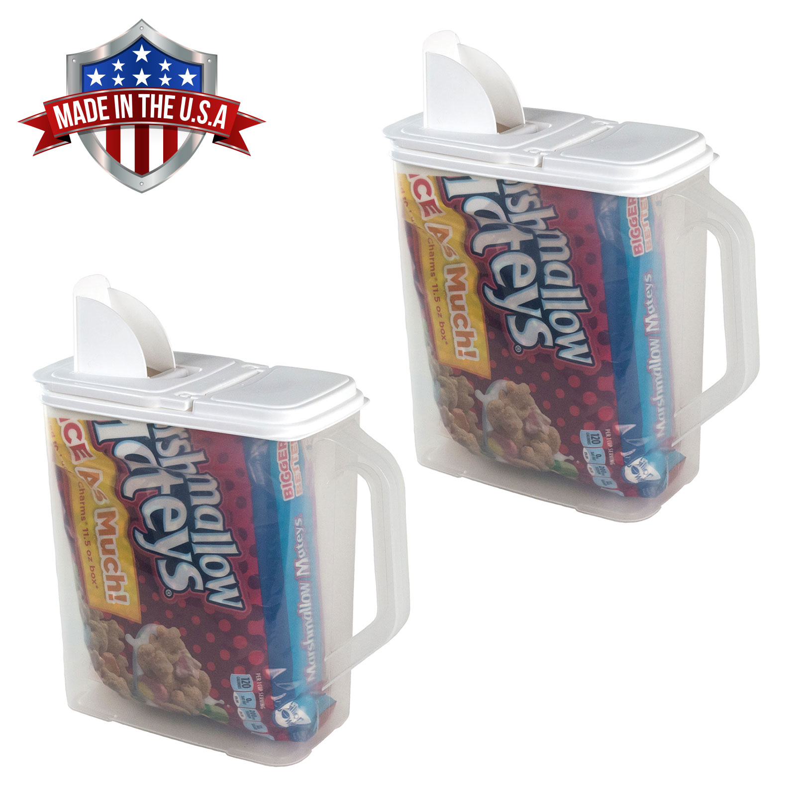 2 Pack of Food Storage Container 6 Quart Flour Sugar Keeper Pour n' Store with Handle by