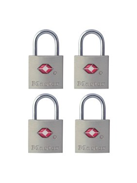 Master Lock Padlock 4683Q 7/8 in. (22 mm.) Wide Solid Metal Tsa-accepted Luggage Lock, 4 Pack