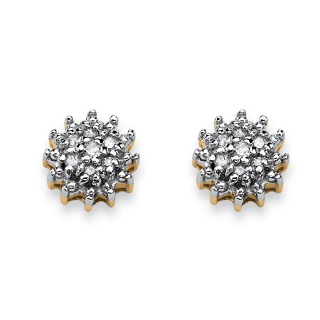 Yellow Gold Starburst - Diamond Accent Starburst Stud Earrings in Solid 10k Yellow Gold