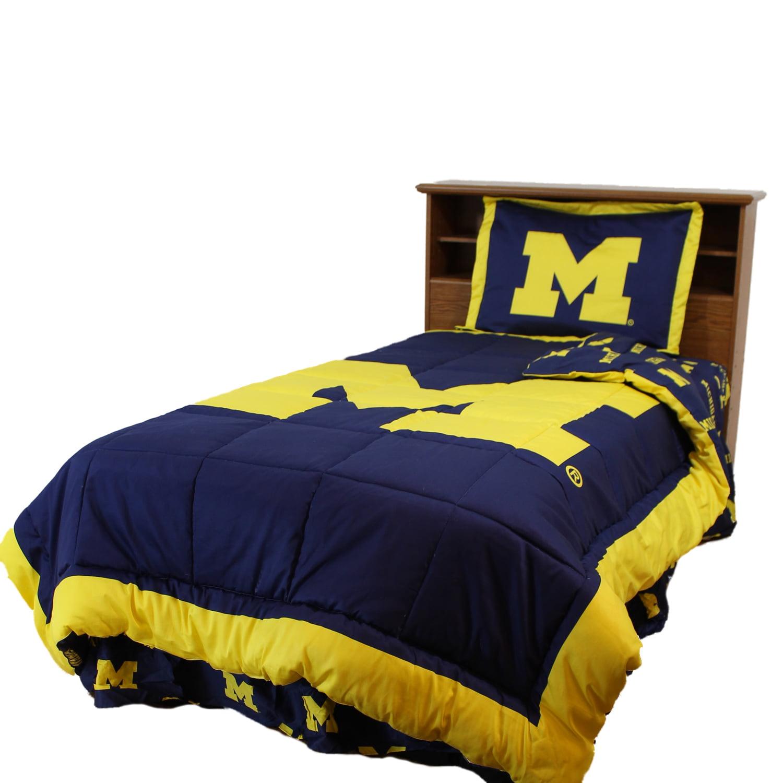 Michigan Wolverines 2 Pc Comforter Set, 1 Comforter, 1 Sham, Twin