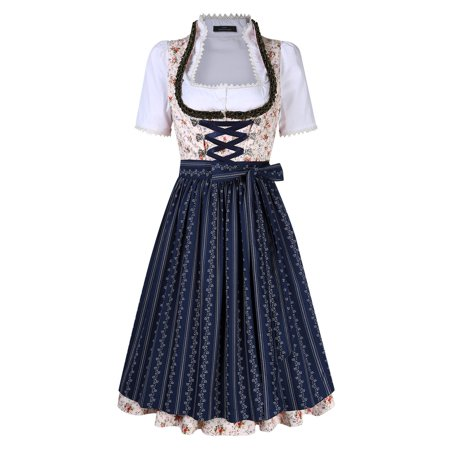 Bavarian Oktoberfest Women's Midi Dirndl Dress 3-Pieces+Apron+Blouse (Halloween Dirndl Dress)