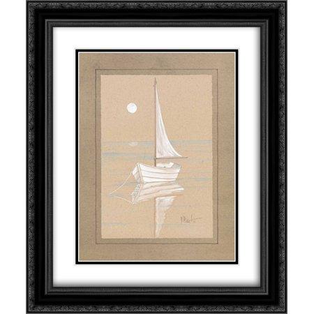 White Sailboat 2x Matted 20x24 Black Ornate Framed Art Print by Brent, Paul ()