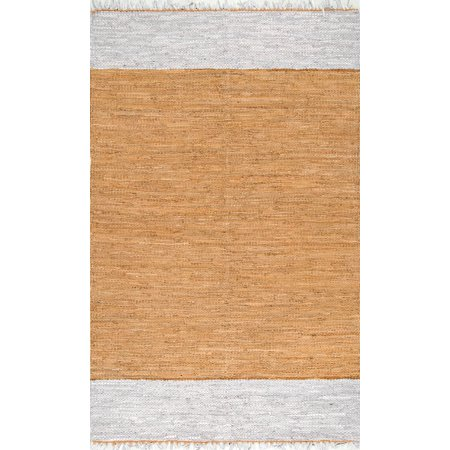 Nuloom Leather And Cotton 5' X 8' Rectangle Area Rugs In Natural