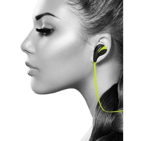 Wireless Bluetooth Sport Stereo Universal Headphones Headset Mini Running Gym Exercise Cordless Sweatproof Earphones Earpiece w/ Mic for Smart Phones Devices, Green