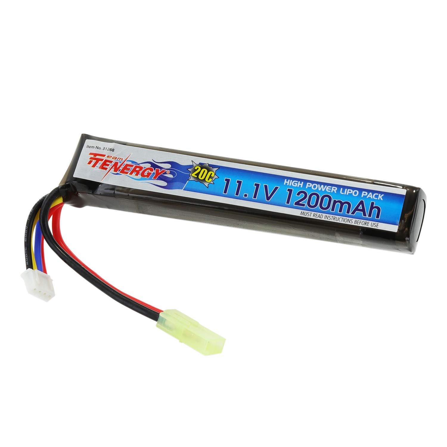 Tenergy 11.1V LiPo Airsoft Battery 1200mAh 20C Short Stick Battery Pack with Mini Tamiya Connector for AEG, Airsoft Guns AK47, MP5k, MP5 PDW, RPK, PKM