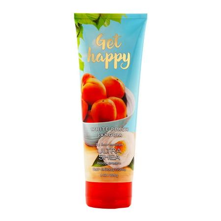 Bath & Body Works Get Happy White Peach Sangria 8.0 oz Ultra Shea Body Cream - Peace Body Cream