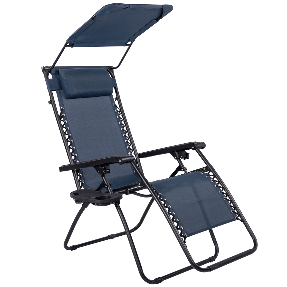Sundale Outdoor Folding Zero Gravity Reclining Lounge Chair With Canopy,  Neck Pillow And Side Tray