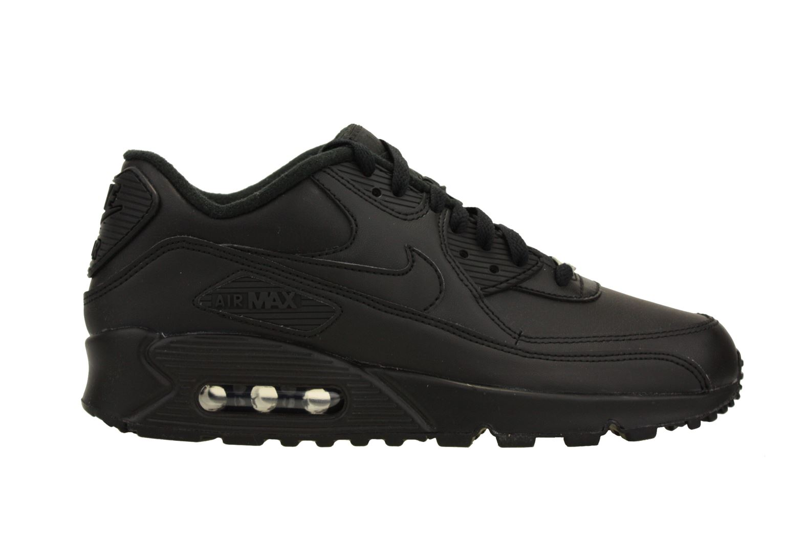 Nike Nike Mens Air Max 90 Leather Running Shoes Black