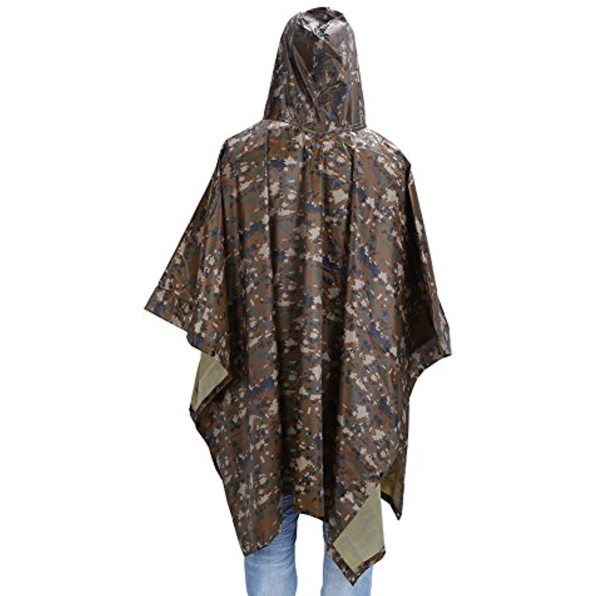 "Click here to buy Multi-Use Rain Poncho, 55"" x 90""Waterproof Ripstop Hooded Rainwear Rain Coat Slicker for Adults Hunting...."
