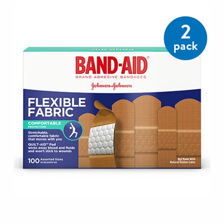 Monkey Band Aid - (2 Pack) Band-Aid Brand Flexible Fabric Adhesive Bandages, Assorted Sizes, 100 ct