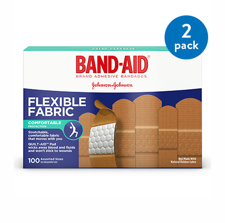 Band-Aid Brand Flexible Fabric Adhesive Bandages, Assorted Sizes, 100 ct