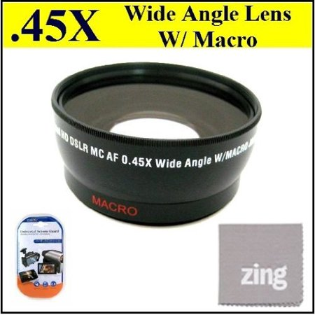 Oem Lcd Screen Lens (46mm 0.45x Wide Angle Lens with Macro for Panasonic HDC-HS900K HDC-TM700 HDC-TM900k CAMCORDERS + MicroFiber Cleaning Cloth + LCD Screen Protectors )