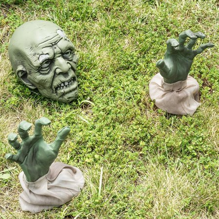 Prextex Halloween Zombie Face and Arms Lawn Stakes for Best Halloween Graveyard Décor Halloween Decorations - Graveyard Decorations Halloween