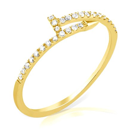 - LoveBling 0.20 Carat (ctw) Diamond Nail Ring in 14 Karat (K) Yellow Gold Ring (size 7)