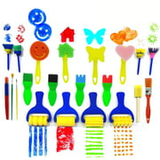 FeelGlad Painting Tools for Kids, 21 Pcs of Fun Paint Brushes for Toddlers,Coming with Sponge Brush, Flower Pattern Brush, DIY Art Design Supplies