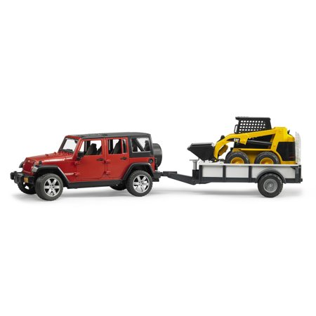 Bruder Toys Jeep Wrangler Unlimited Rubicon with Cat Skid Steer Loader & Trailer