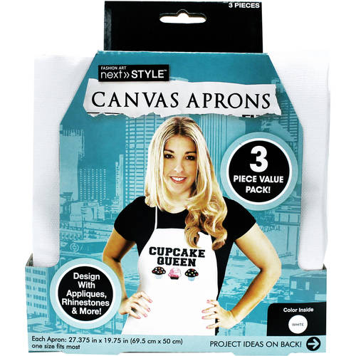Next Style Canvas Aprons, 3-Pack, White