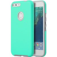 Mundaze Google Pixel XL Anti-Slip EZPress Series Double Layered Phone Case, Teal Mint