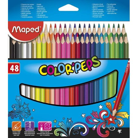 Maped Color'Peps Triangular Colored Pencils, Assorted Colors, Pack of 48 (832048ZV), Bright colored pencils with soft and resilient lead, provide smooth.., By Maped Helix USA (Map Color Pencils)