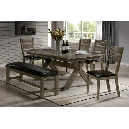 Ananke 6 piece rustic walnut wood rectangle dinette dining for Dining room tables walmart