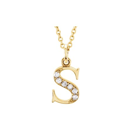 Uniquely Crafted Pretty Diamond S Initial Pendant in 14K Yellow Gold Fabulous Gifting Solution - image 2 de 2