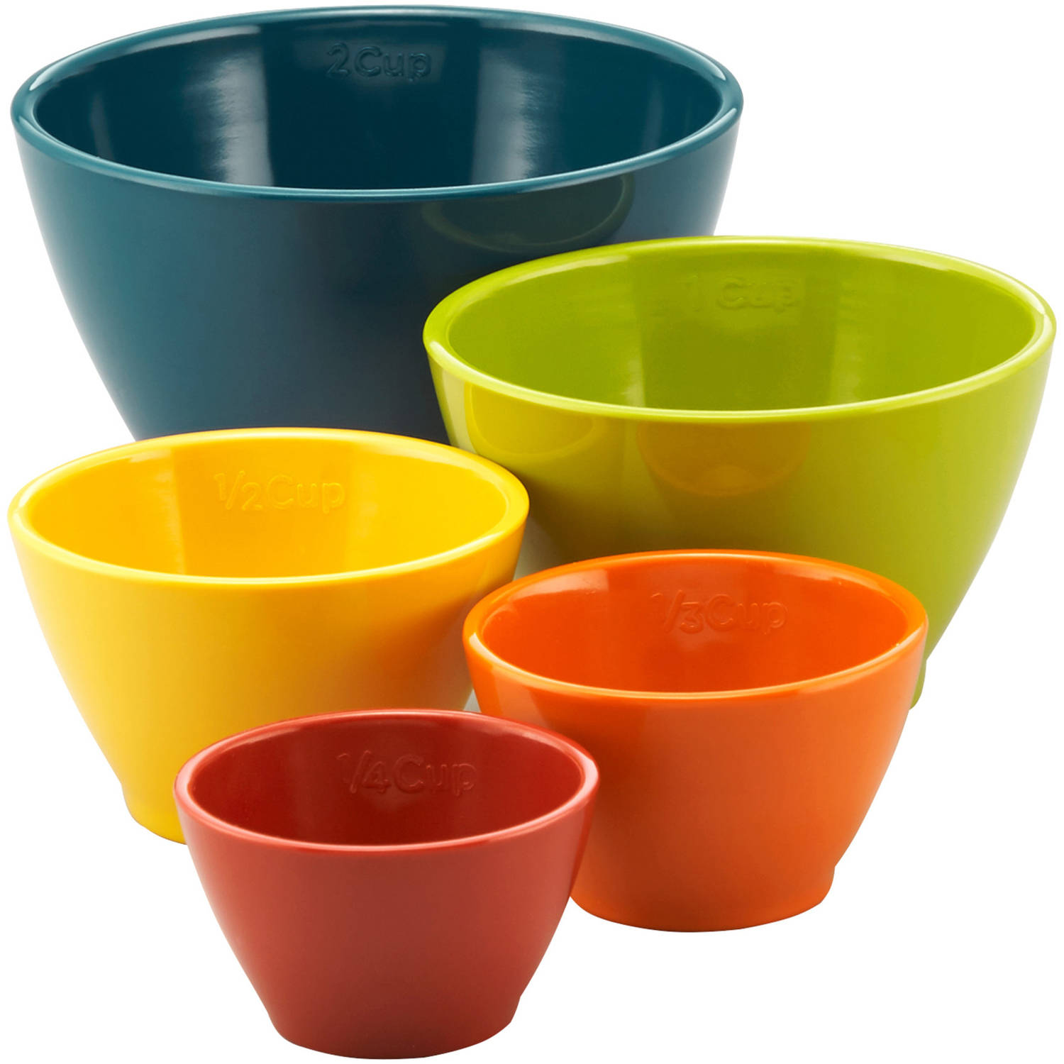 Rachael Ray Melamine Nesting Measuring Cups, 5-Piece Set, Assorted