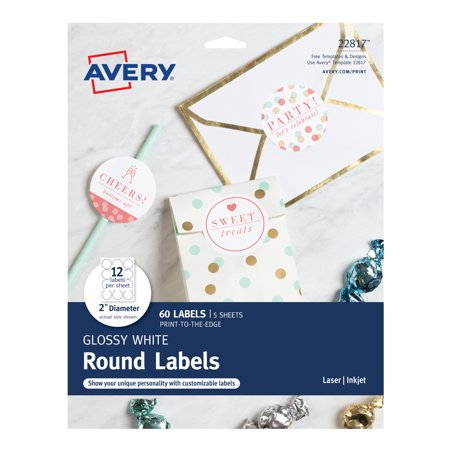 Avery Round Labels, Permanent Adhesive, Print to the Edge, Glossy White, 2