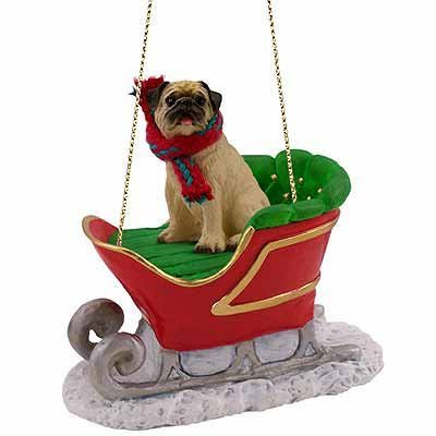 Fawn Chinese Pug Dog in Sleigh Christmas Ornament New ()